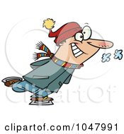 Royalty Free RF Clip Art Illustration Of A Cartoon Guy Ice Skating by toonaday