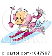 Royalty Free RF Clip Art Illustration Of A Cartoon Baby Girl Skiing