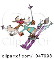 Royalty Free RF Clip Art Illustration Of A Cartoon Skiing Cow by toonaday