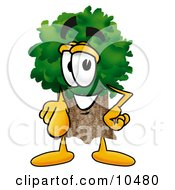 Clipart Picture Of A Tree Mascot Cartoon Character Pointing At The Viewer by Toons4Biz