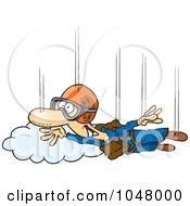 Royalty Free RF Clip Art Illustration Of A Cartoon Guy Skydiving