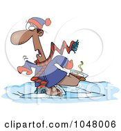 Royalty Free RF Clip Art Illustration Of A Cartoon Man Falling While Ice Skating by toonaday