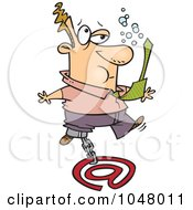 Royalty Free RF Clip Art Illustration Of A Cartoon Businessman Sinking With Email by toonaday