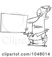 Royalty Free RF Clip Art Illustration Of A Cartoon Black And White Outline Design Of A Guy Holding A Blank Sign