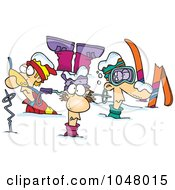 Cartoon Crashed Skiers by toonaday