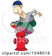 Royalty Free RF Clip Art Illustration Of A Cartoon Man Skateboarding On A Hydrant