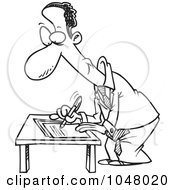 Royalty Free RF Clip Art Illustration Of A Cartoon Black And White Outline Design Of A Black Businessman Signing A Document