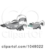 Royalty Free RF Clip Art Illustration Of A Cartoon Skunk Wearing A Mask And Following Others
