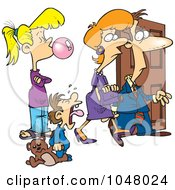 Royalty Free RF Clip Art Illustration Of A Cartoon Babysitter Watching Parents Leave