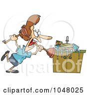 Royalty Free RF Clip Art Illustration Of A Cartoon Woman Tackling A Sink With A Plunger by toonaday