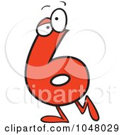 Royalty Free RF Clip Art Illustration Of A Cartoon Number Six 6 Character