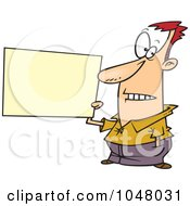 Royalty Free RF Clip Art Illustration Of A Cartoon Guy Holding A Blank Sign