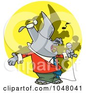 Royalty Free RF Clip Art Illustration Of A Cartoon Singing Rhino by toonaday