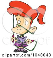 Royalty Free RF Clip Art Illustration Of A Cartoon Girl Tangled In A Jump Rope