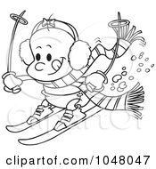 Royalty Free RF Clip Art Illustration Of A Cartoon Black And White Outline Design Of A Baby Girl Skiing