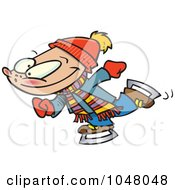 Royalty Free RF Clip Art Illustration Of A Cartoon Winter Boy Ice Skating by toonaday