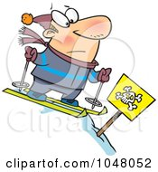 Royalty Free RF Clip Art Illustration Of A Cartoon Guy Skiing Down A Dangerous Slope by toonaday