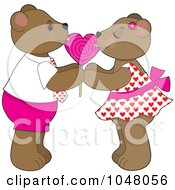 Royalty Free RF Clip Art Illustration Of Valentine Bears Sharing A Heart Lolipop by Maria Bell