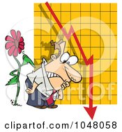Royalty Free RF Clip Art Illustration Of A Cartoon Flower Tapping On A Man By A Failing Chart by toonaday