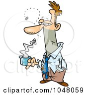 Cartoon Stinky Businessman Holding Coffee