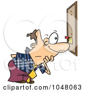 Royalty Free RF Clip Art Illustration Of A Cartoon Businessman Reading A Tiny Memo