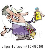 Royalty Free RF Clip Art Illustration Of A Cartoon Businessman Holding Snake Oil by toonaday