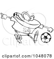 Cartoon Black And White Outline Design Of A Frog Playing Soccer