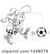Royalty Free RF Clip Art Illustration Of A Cartoon Black And White Outline Design Of A Soccer Girl Kicking