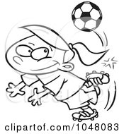 Royalty Free RF Clip Art Illustration Of A Cartoon Black And White Outline Design Of A Soccer Girl Doing A Kick Trick
