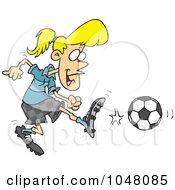 Royalty Free RF Clip Art Illustration Of A Cartoon Soccer Girl Kicking