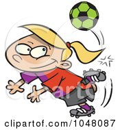 Royalty Free RF Clip Art Illustration Of A Cartoon Soccer Girl Doing A Kick Trick