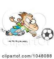 Royalty Free RF Clip Art Illustration Of A Cartoon Running Soccer Boy