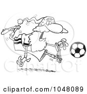 Cartoon Black And White Outline Design Of Santa Playing Soccer