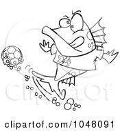 Cartoon Black And White Outline Design Of A Fish Playing Soccer