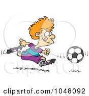 Royalty Free RF Clip Art Illustration Of A Cartoon Boy Running After A Soccer Ball