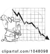Royalty Free RF Clip Art Illustration Of A Cartoon Black And White Outline Design Of A Businessman Praying By A Failing Chart by toonaday