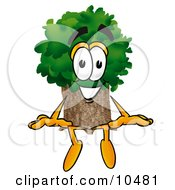 Clipart Picture Of A Tree Mascot Cartoon Character Sitting
