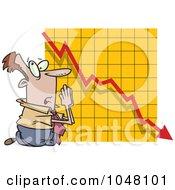 Royalty Free RF Clip Art Illustration Of A Cartoon Businessman Praying By A Failing Chart