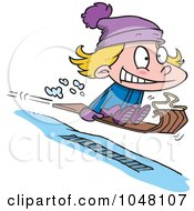 Royalty Free RF Clip Art Illustration Of A Cartoon Girl Sledding by toonaday