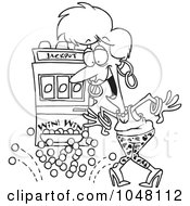 Royalty Free RF Clip Art Illustration Of A Cartoon Black And White Outline Design Of A Woman Winning The Jackpot