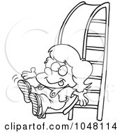 Royalty Free RF Clip Art Illustration Of A Cartoon Black And White Outline Design Of A Girl On A Slide