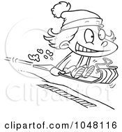 Royalty Free RF Clip Art Illustration Of A Cartoon Black And White Outline Design Of A Girl Sledding