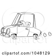 Cartoon Black And White Outline Design Of A Short Woman Driving