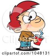 Royalty Free RF Clip Art Illustration Of A Cartoon Boy Drinking Soda by toonaday