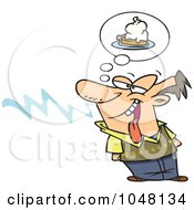 Royalty Free RF Clip Art Illustration Of A Cartoon Guy Smelling Pie by toonaday