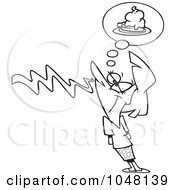 Royalty Free RF Clip Art Illustration Of A Cartoon Black And White Outline Design Of A Woman Smelling Pie
