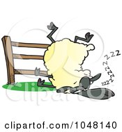 Royalty Free RF Clip Art Illustration Of A Cartoon Sleepy Sheep By A Fence by toonaday