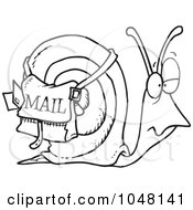 Royalty Free RF Clip Art Illustration Of A Cartoon Black And White Outline Design Of A Snail Mail by toonaday
