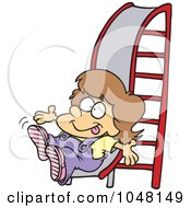 Royalty Free RF Clip Art Illustration Of A Cartoon Girl On A Slide