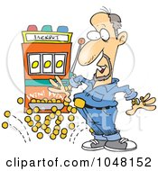Royalty Free RF Clip Art Illustration Of A Cartoon Man Winning A Jackpot by toonaday